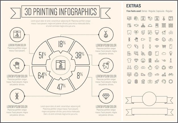 Trzy d linia drukowana projekt infographic szablon