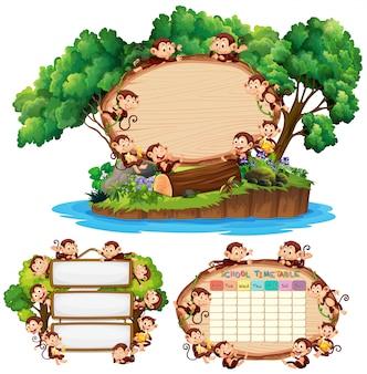 Trzy deskowe szablon z szczęśliwymi małpami w tle