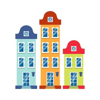 Trzy domy kreskówek kolorowa architektura amsterdamu. zbliżenie graficzny ikona kamienica, europejski styl. płaski budynek miejski wysokie miasto i podmiejski domek. na białym tle