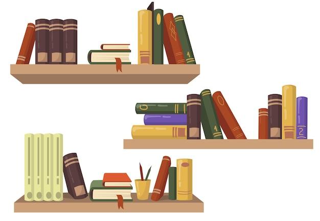 Trzy drewniane regały z różnymi książkami płaski zestaw do projektowania stron internetowych.