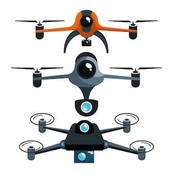 Trzy drony z kamerą