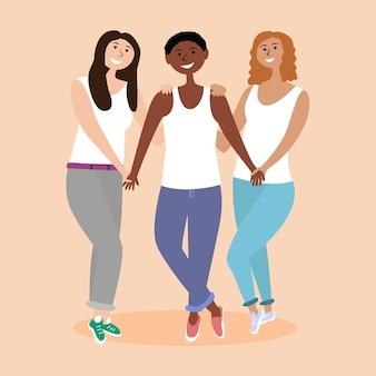 Trzy dziewczyny różnych narodowości trzymające się za ręce