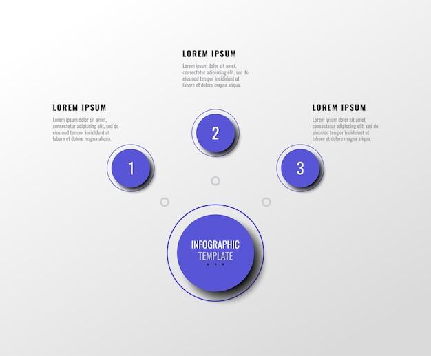 Trzy fioletowe elementy infografiki z realistycznym cieniem na schemacie poziomym na białym tle