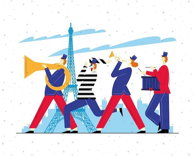 Trzy francuskie orkiestry marszowe i mim