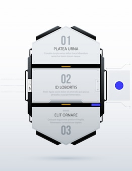 Trzy futurystyczne opcje w czystym stylu hi-tech / techno