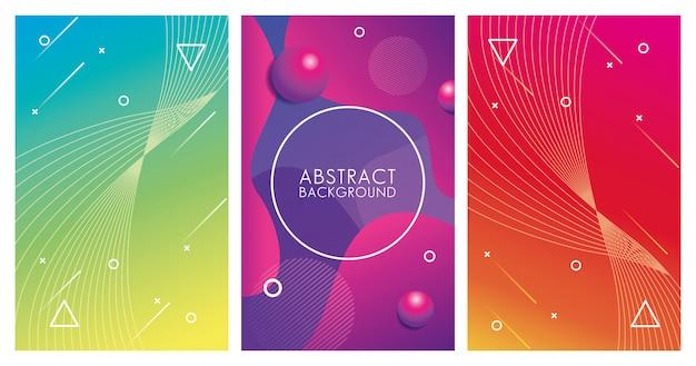 Trzy geometryczne kolorowe abstrakcyjne tła
