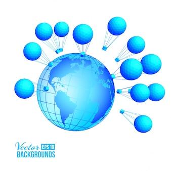 Trzy globalny balon na mapie na rozmycie tła