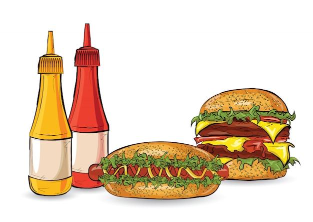 Trzy hamburgery w stylu szkicu na białym tle.