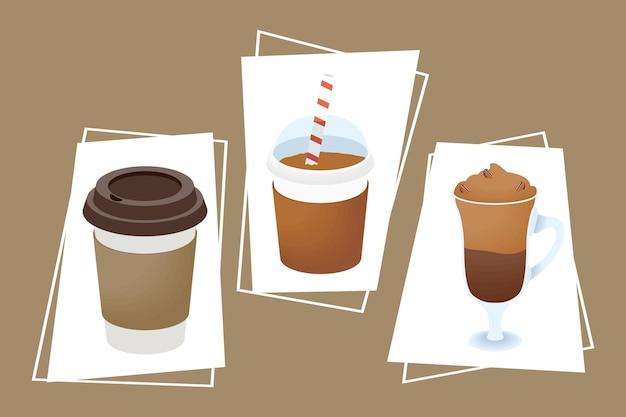 Trzy ikony zestaw napojów kawowych