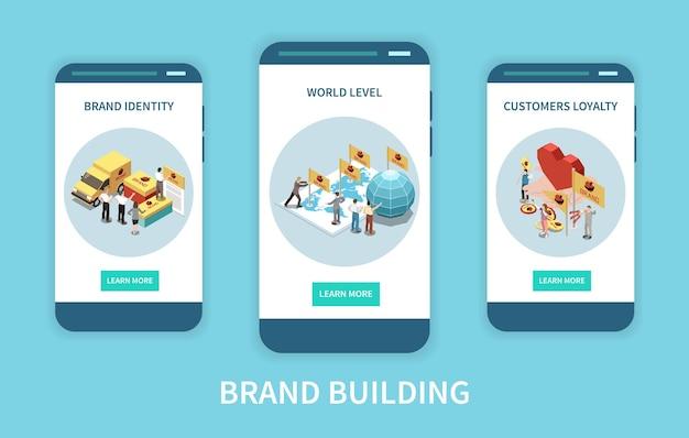 Trzy izometryczne ekrany aplikacji z koncepcjami marki