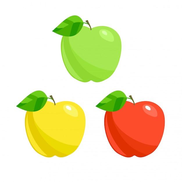 Trzy jabłka wektor