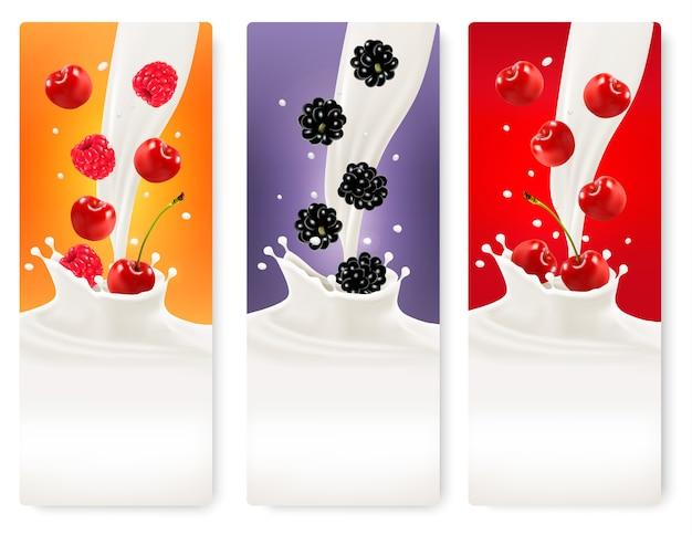 Trzy jagody i banery mleka.