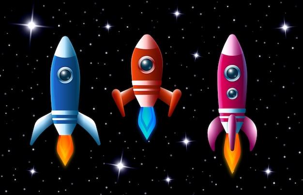 Trzy jaskrawo kolorowe rakiety wektorowe w przestrzeni kosmicznej z turbodoładowaniem i płomieniami, gdy pędzą przez ciemne rozgwieżdżone niebo zestaw trzech różnych statków kosmicznych dla dzieci