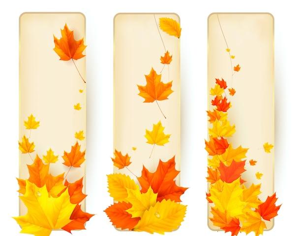 Trzy jesienne banery z kolorowymi liśćmi w złotych ramach. .