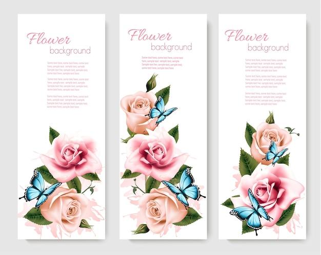 Trzy kartki okolicznościowe z kolorowymi kwiatami i motylami. ilustracja wektorowa