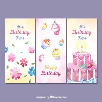 Trzy kartki urodzinowe akwarela