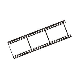 Trzy klatki z pozytywową ścinką filmową o średnicy 35 mm, prosta czarna ikona na białym tle
