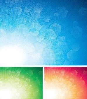 Trzy kolorowe abstrakcyjne tła