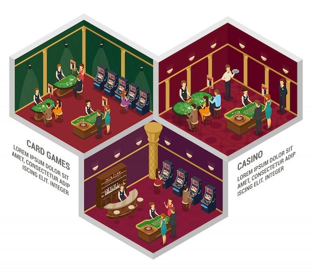 Trzy kolorowe izometryczne kompozycje wnętrza kasyna z grami karcianymi i opisami kasyn