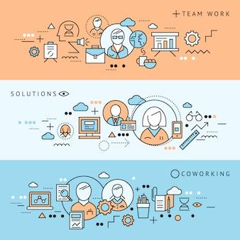 Trzy kolorowe linie poziome baner coworking zestaw z ilustracji wektorowych opisy rozwiązań pracy zespołowej