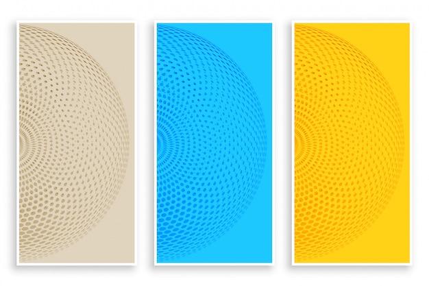 Trzy kolorowe okrągłe banery półtonowe