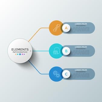 Trzy kolorowe okrągłe elementy z liniowymi symbolami wewnątrz i polami tekstowymi połączonymi z głównym okręgiem. koncepcja 3 kolejnych etapów rozwoju startupu. szablon projektu plansza. ilustracja wektorowa