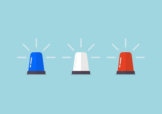 Trzy kolorowe syreny policyjne