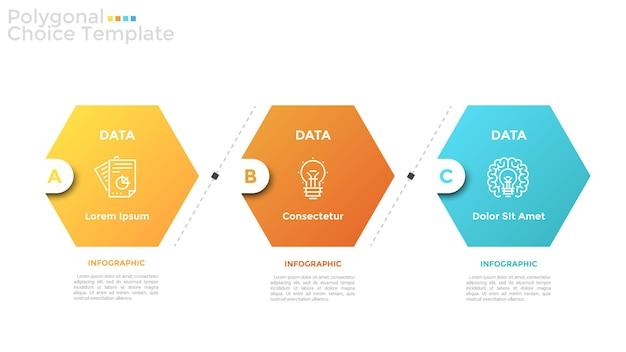 Trzy kolorowe sześciokątne elementy z cienkimi symbolami linii wewnątrz ułożone w poziomy rząd i miejsce na tekst. koncepcja 3 opcji biznesowych. szablon projektu nowoczesny plansza. ilustracja wektorowa.