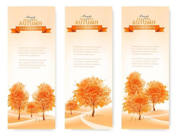 Trzy krajobrazowe jesienne banery. wektor