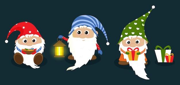 Trzy kreskówka krasnale bożonarodzeniowe