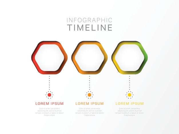 Trzy kroki 3d infographic szablon z sześciokątnymi elementami. szablon procesu biznesowego z opcjami diagramu, przepływu pracy