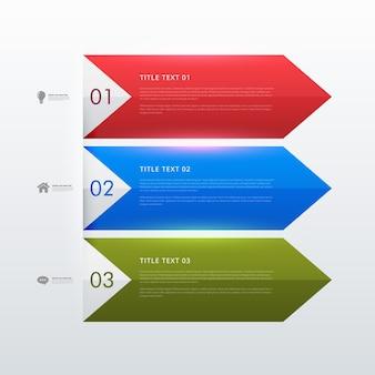 Trzy kroki biznes plansza projekt banerów