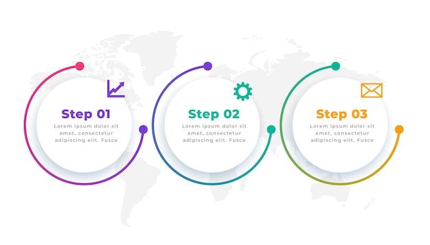 Trzy kroki nowoczesnego okrągłego szablonu infografiki