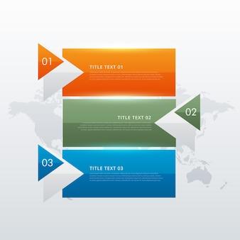 Trzy kroki nowoczesny kolorowy szablon infograficzny dla prezentacji biznesowych