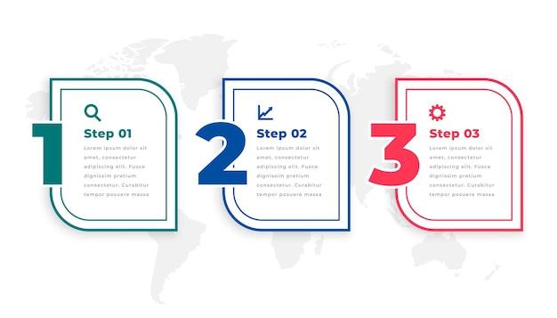 Trzy kroki nowoczesny plansza szablon osi czasu