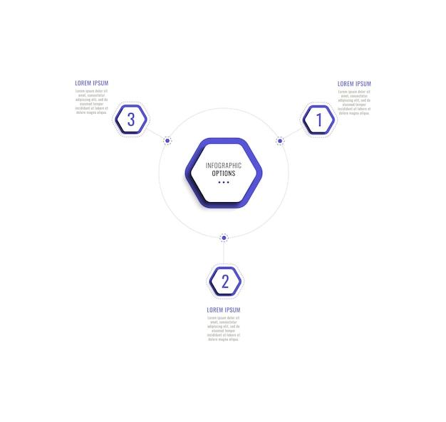 Trzy kroki okrągłego szablonu infografiki z fioletowymi sześciokątnymi elementami na białym tle