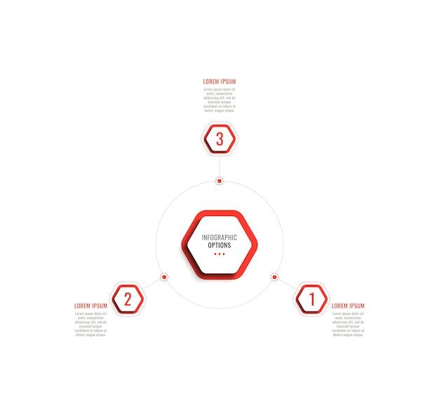 Trzy kroki okrągły szablon infografiki z czerwonymi sześciokątnymi elementami na białym tle