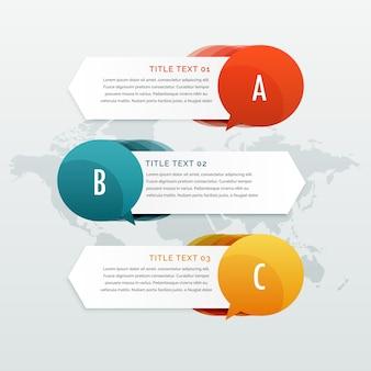 Trzy kroki opcje infographic banery internetowe