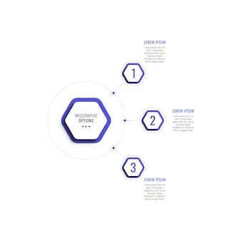 Trzy kroki pionowej infografiki szablon z fioletowymi sześciokątnymi elementami na białym tle