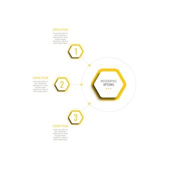 Trzy kroki pionowej infografiki szablon z żółtymi sześciokątnymi elementami na białym tle