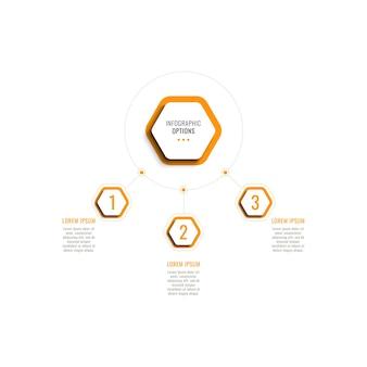 Trzy kroki poziomy szablon infografiki z pomarańczowymi sześciokątnymi elementami na białym tle