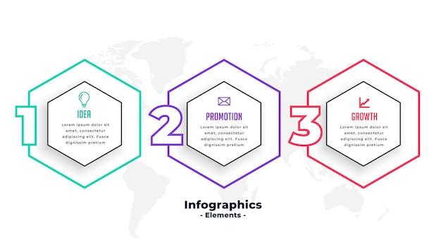 Trzy kroki sześciokątny kształt infografiki szablon projektu