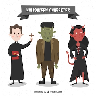 Trzy ładne wyciągnąć rękę halloween znaków