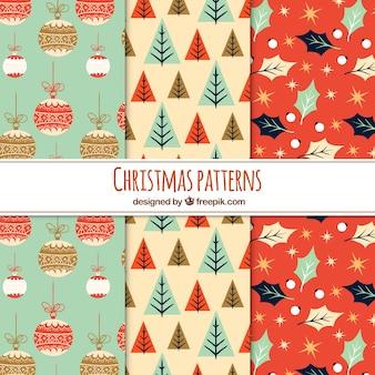 Trzy ładne wzory świąteczne w stylu vintage