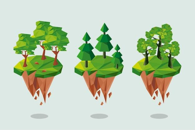 Trzy leśne lowpoly