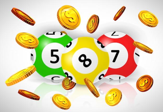 Trzy loterii piłki i latać złote monety na białym tle.