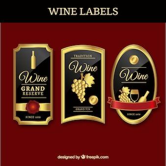Trzy luksusowe etykiety win
