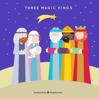 Trzy magiczne królów w płaskiej konstrukcji
