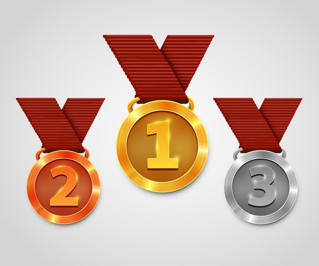Trzy medale ze wstążkami. medale złote, srebrne i brązowe. nagroda mistrzowska.
