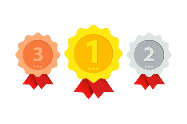 Trzy miejsca z nagrodami o różnych stopniach